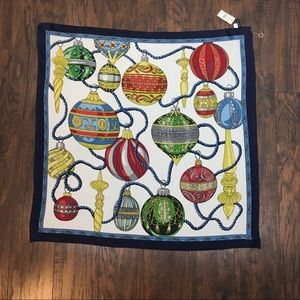Talbots Silk Holiday Ornament Scarf. NWT